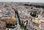 View from La Giralda over the roof tops  in Seville,Spain.