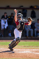 Winthrop Eagles catcher Roger Gonzalez (16) can't grab the baseball before it goes foul during the game against the Kennesaw State Owls at the Winthrop Ballpark on March 15, 2015 in Rock Hill, South Carolina.  The Eagles defeated the Owls 11-4.  (Brian Westerholt/Four Seam Images)
