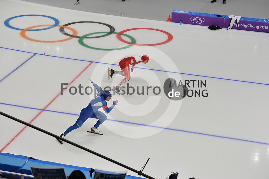 OLYMPIC GAMES: PYEONGCHANG: 19-02-2018, Gangneung Oval, Long Track, 500m Men, Mo Tae-Bum (KOR), Piotr Michalski (POL), ©photo Martin de Jong