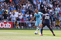 ST PAUL, MN - JULY 18: Niko Hansen #11 of Minnesota United FC and Yeimar Gomez Andrade #28 of the Seattle Sounders FC battle for the ball during a game between Seattle Sounders FC and Minnesota United FC at Allianz Field on July 18, 2021 in St Paul, Minnesota.