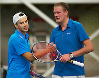 Januari 24, 2015, Rotterdam, ABNAMRO, Supermatch, Vincent van der Honert  recieves congrets from Ricardo van Zutphen (R)<br /> Photo: Tennisimages/Henk Koster