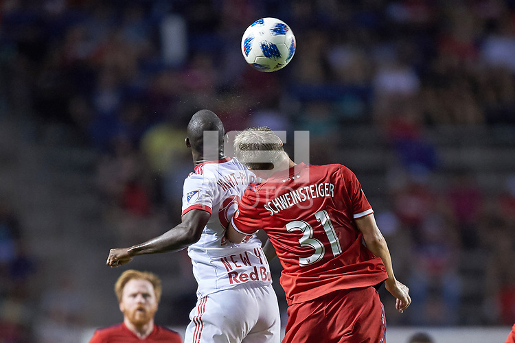 Bridgeview, IL - Saturday August 11, 2018: The Chicago Fire played the New York Red Bulls at Toyota Park in a Major League Soccer (MLS) match.  The Chicago Fire fall to the Red Bulls with a score of 1-0.