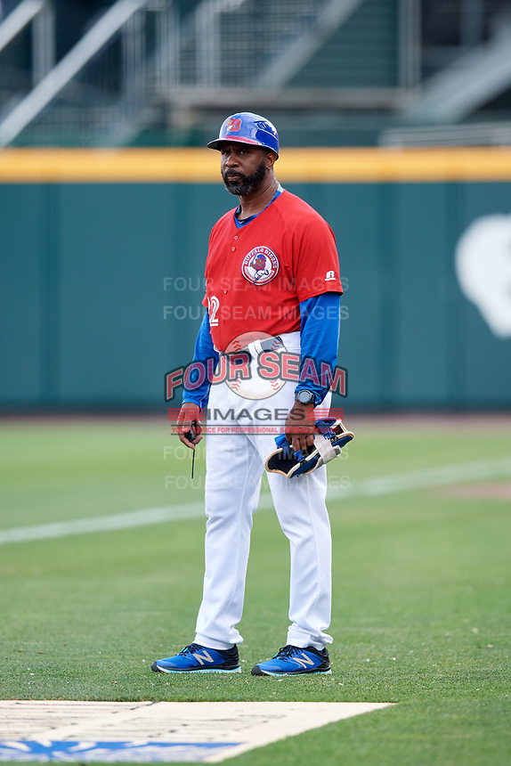 Buffalo Bisons position coach Devon White (22) during a game against the Lehigh Valley IronPigs on June 23, 2018 at Coca-Cola Field in Buffalo, New York.  Lehigh Valley defeated Buffalo 4-1.  (Mike Janes/Four Seam Images)
