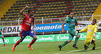 BOGOTÁ - COLOMBIA, 10-03-2020:Edis Ibarguen del Deportivo Pasto convierte un  gol de su equipo partido entre La Equidad y Deportivo Pasto por la fecha 8 de la Liga BetPlay I 2020 jugado en el estadio Metropolitano de Techo de la ciudad de Bogotá. / Edis Ibarguen of Deportivo Pasto scores the goal of his team during match between La Equidad and Deportivo Pasto for the date 8 as part of BetPlay League I 2020 played at Metropolitano de Techo stadium in Bogota. Photo: VizzorImage / Felipe Caicedo / Staff