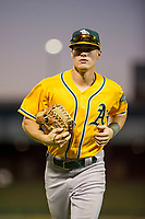 AZL Athletics left fielder Ben Spitznagel (18) jogs towards the dugout between innings during a game against the AZL Cubs on August 9, 2017 at Sloan Park in Mesa, Arizona. AZL Athletics defeated the AZL Cubs 7-2. (Zachary Lucy/Four Seam Images)