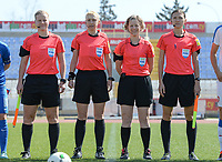 20180307 - LARNACA , CYPRUS :  referees with Ukrainian assistant referee Oleksandra Vdovina (right) , Dutch assistant referee Fijke Hoogendijk ,  Ukrainian referee Anastasia Romanyuk and Finnish assitant referee Heini Hyvonen (left) pictured during a women's soccer game between  Slovakia and the Czech Republic , on Wednesday 7 March 2018 at the GSZ Stadium in Larnaca , Cyprus . This is the final game in a decision for 9 th or 10 th place of the Cyprus Womens Cup , a prestigious women soccer tournament as a preparation on the World Cup 2019 qualification duels. PHOTO SPORTPIX.BE   DAVID CATRY