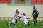 Luxembourg's Joel Kitenge celebrates his goal with team mates Tom Schnell (5) and Kim Kintziger (3) during the International Friendly between Wales and Luxembourg at Parc y Scarlets in LLanelli..