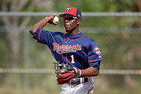 Minnesota Twins second baseman Nick Gordon (1) throws to first during a Spring Training practice on February 21, 2018 at Hammond Stadium at CenturyLink Sports Complex in Fort Myers, Florida.  (Mike Janes/Four Seam Images)
