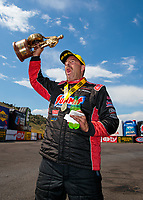 Jul 21, 2019; Morrison, CO, USA; NHRA pro stock driver Greg Anderson celebrates after winning the Mile High Nationals at Bandimere Speedway. Mandatory Credit: Mark J. Rebilas-USA TODAY Sports