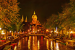 Canal in Amsterdam at night, Holland.