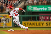 21 May 2018: Washington Nationals outfielder Juan Soto, making his first Major League start, rounds second on his way to scoring Washington's 8th run in the 6th inning against the San Diego Padres at Nationals Park in Washington, DC. The Nationals defeated the Padres 10-2, taking the first game of their 3-game series. Mandatory Credit: Ed Wolfstein Photo *** RAW (NEF) Image File Available ***