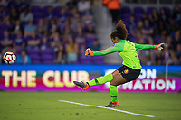 Orlando, FL - Saturday March 24, 2018: Utah Royals goalkeeper Abby Smith (1) takes a goal kick during a regular season National Women's Soccer League (NWSL) match between the Orlando Pride and the Utah Royals FC at Orlando City Stadium. The game ended in a 1-1 draw.