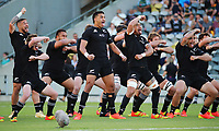 25th September 2021; Townsville, Gold Coast, Australia;  Rieko Ioane and All Blacks players perform the haka. All Blacks versus Springboks. The Rugby Championship. 100th Rugby Union test match between New Zealand and South Africa.