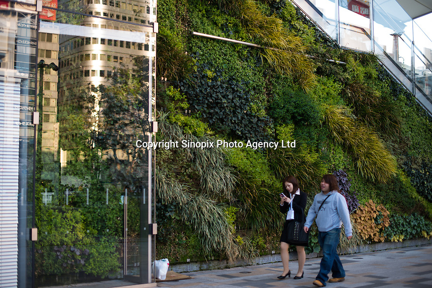 Wall is covered with green plant at Tokyo station