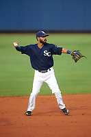 Charlotte Stone Crabs shortstop Peter Maris (3) throws to first base during the second game of a doubleheader against the Tampa Yankees on July 18, 2017 at Charlotte Sports Park in Port Charlotte, Florida.  Charlotte defeated Tampa 2-1.  (Mike Janes/Four Seam Images)