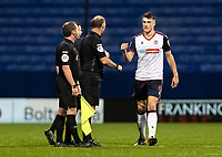 Bolton Wanderers' Ryan Delaney bumps fists with the officials at the end of the match <br /> <br /> Photographer Andrew Kearns/CameraSport<br /> <br /> The EFL Sky Bet League Two - Bolton Wanderers v Mansfield Town - Tuesday 3rd November 2020 - University of Bolton Stadium - Bolton<br /> <br /> World Copyright © 2020 CameraSport. All rights reserved. 43 Linden Ave. Countesthorpe. Leicester. England. LE8 5PG - Tel: +44 (0) 116 277 4147 - admin@camerasport.com - www.camerasport.com