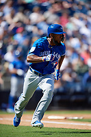 Toronto Blue Jays left fielder Teoscar Hernandez (37) runs to first base during a Grapefruit League Spring Training game against the New York Yankees on February 25, 2019 at George M. Steinbrenner Field in Tampa, Florida.  Yankees defeated the Blue Jays 3-0.  (Mike Janes/Four Seam Images)