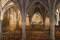 Europe/France/Midi-Pyrénées/46/Lot/Figeac: Chevet de l'église St-Sauveur - la Salle capitulaire et ses boiseries peintes et sculptées du 17° siècle, oeuvre de la famille Delclaux