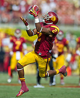 LOS ANGELES, CA - September 22, 2012:  USC wide receiver Robert Woods (2) during the USC Trojans vs the Cal Bears at the Los Angeles Memorial Coliseum in Los Angeles, CA. Final score USC 27, Cal 9..