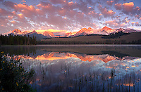 Little Redfish Lake, reflection. Idaho United States Sawtooth National Recreation Area.