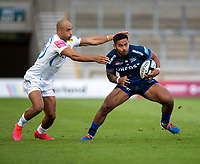 21st August 2020; AJ Bell Stadium, Salford, Lancashire, England; English Premiership Rugby, Sale Sharks versus Exeter Chiefs;  Manu Tuilagi of Sale Sharks under pressure from  Olly Woodburn of Exeter Chiefs