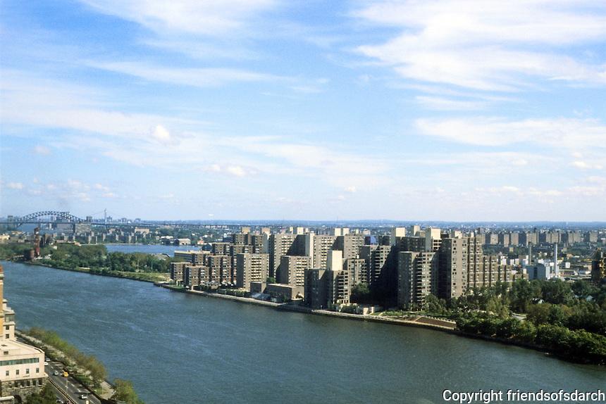 New York City: Roosevelt Island from Tram. Master Plan by Philip Johnson and John Burgee.