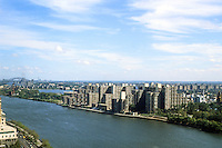 New York City: Roosevelt Island from Tram. Master Plan by Philip Johnson and John Burgee.