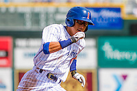 Iowa Cubs shortstop Munenori Kawasaki (1) rounds third base during a game against the Colorado Springs Sky Sox on September 4, 2016 at Principal Park in Des Moines, Iowa. Iowa defeated Colorado Springs 5-1. (Brad Krause/Four Seam Images)