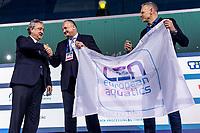 Flag Handover To Split<br /> Budapest 26/01/2020 Duna Arena <br /> Men Medal Ceremony<br /> XXXIV LEN European Water Polo Championships 2020<br /> Photo  ©Giorgio Scala / Deepbluemedia / Insidefoto
