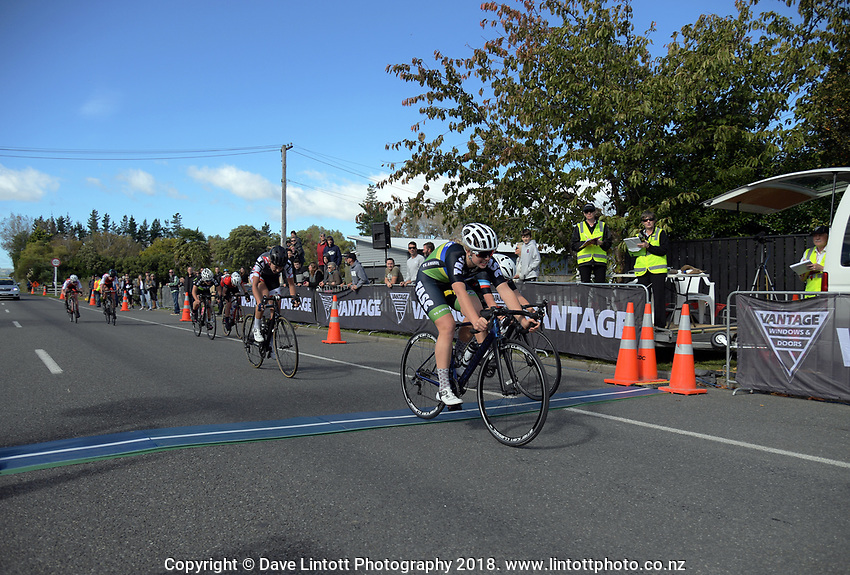 Prudence Fowler (Te Awamutu Sports Cycling) wins the Under-17 girls Millars Road circuit race on day two of the 2018 NZ Age Group Road Cycling Championships in Carterton, New Zealand on Saturday, 21 April 2018. Photo: Dave Lintott / lintottphoto.co.nz