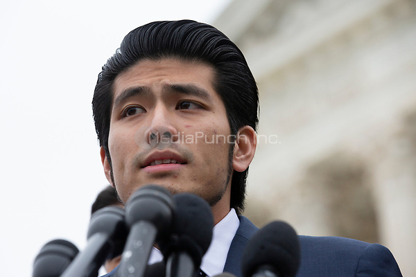 "Jirayut ""New"" Latthivongskorn speaks to the press after the Supreme Court heard arguments on the Deferred Action for Childhood Arrivals program in Washington D.C., U.S. on Tuesday, November 12, 2019.<br /> <br /> Credit: Stefani Reynolds / CNP /MediaPunch"