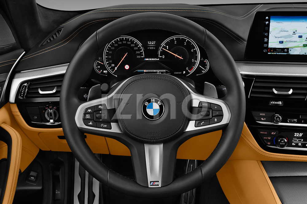 Car pictures of steering wheel view of a 2018 BMW 5 Series base 4 Door Sedan