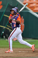 Freshman infielder Jordan Greene (9) of the Clemson Tigers of Fort Mill in a fall practice intra-squad Orange-Purple scrimmage on Sunday, September 27, 2015, at Doug Kingsmore Stadium in Clemson, South Carolina. (Tom Priddy/Four Seam Images)