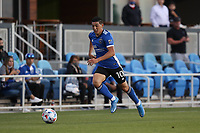 SAN JOSE, CA - MAY 12: Cristian Espinoza #10 of the San Jose Earthquakes during a game between Seattle Sounders FC and San Jose Earthquakes at PayPal Park on May 12, 2021 in San Jose, California.