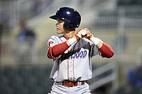 Simon Muzziotti (12) of the Lakewood BlueClaws at bat against the Kannapolis Intimidators at Kannapolis Intimidators Stadium on April 6, 2018 in Kannapolis, North Carolina.  The BlueClaws defeated the Intimidators 4-3. (Brian Westerholt/Four Seam Images)