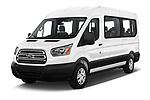 2019 Ford Transit Wagon 350 XLT Wagon Med Roof Sliding Pass. 148 5 Door Passenger Van angular front stock photos of front three quarter view