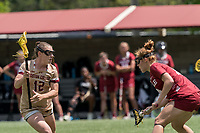 NEWTON, MA - MAY 16: Cassidy Weeks #12 of Boston College on the attack as Belle Mastropietro #12 of Temple University defends during NCAA Division I Women's Lacrosse Tournament second round game between Temple University and Boston College at Newton Campus Lacrosse Field on May 16, 2021 in Newton, Massachusetts.