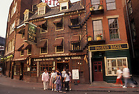 AJ4426, Boston, Massachusetts, Shops and restaurants along the street in Marketplace in downtown Boston in the state of Massachusetts.