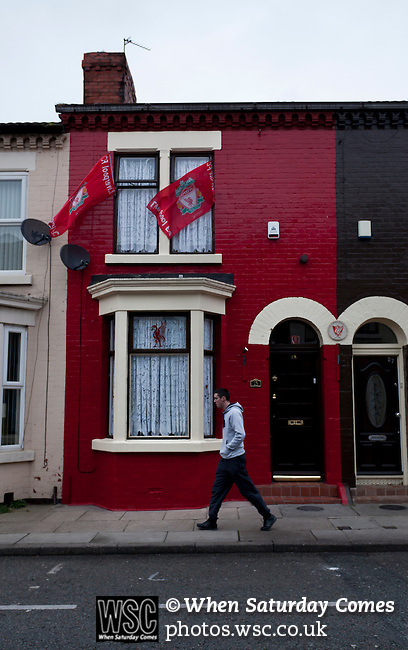 Everton 2 Wolves 1, 19/11/2011. Goodison Park, Premier League. House painted in Liverpool colours with Liverpool flags in Winslow Street, adjacent to Goodison Park. Photo by Paul Thompson.