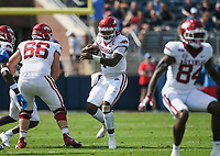 Arkansas quarterback KJ Jefferson (1) carries the ball, Saturday, October 9, 2021 during the second quarter of a football game at Vaught Hemingway Stadium in Oxford, Miss. Check out nwaonline.com/211010Daily/ for today's photo gallery. <br /> (NWA Democrat-Gazette/Charlie Kaijo)