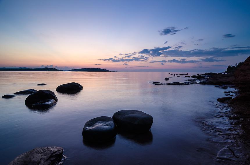 Dusk on Lake Superior on a hot summer night. Marquette, MI