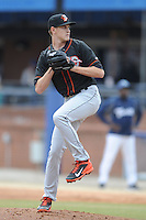 Delmarva Shorebirds starting pitcher Sebastian Vader #11 delivers a pitch during a game against the  Asheville Tourists at McCormick Field on April 6, 2014 in Asheville, North Carolina. The Shorebirds defeated the Tourists 4-2. (Tony Farlow/Four Seam Images)