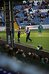 Stockport County 2 Rushden & Diamonds 2, 22/01/2006. Edgeley Park, League Two. Stockport County versus Rushden & Diamonds, Coca-Cola Football League Two at Edgeley Park, Stockport. With the teams occupying the bottom two places in the Football league, points were vital in home club's Jim Gannon's first game in charge as manager. The match ended 2-2. Picture shows the linesman gets a replacement flag in the first half.<br />  Photo by Colin McPherson.