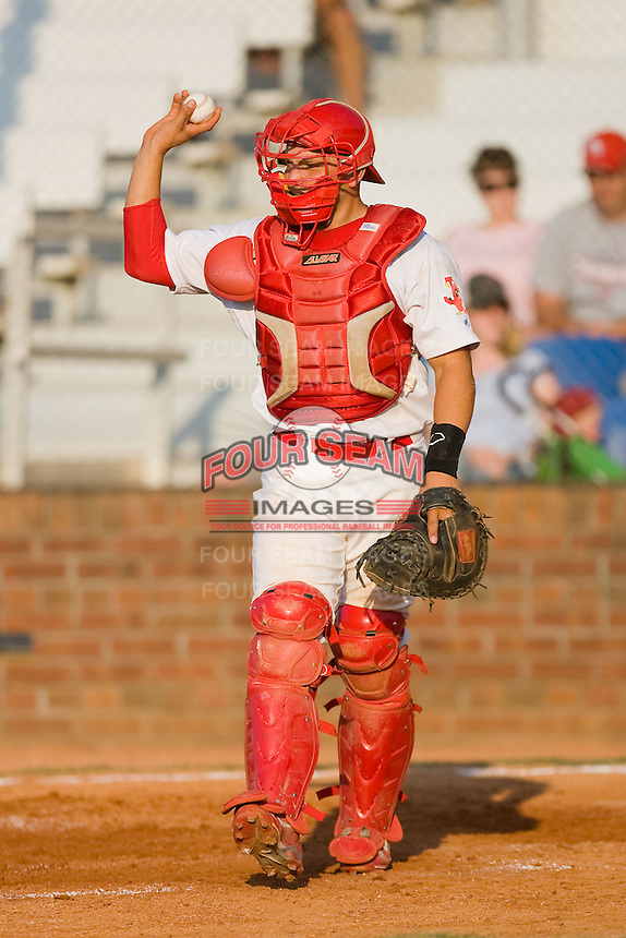 Travis Tartamella #36 of the Johnson City Cardinals throws the ball back to the mound after the third out of an inning against the Elizabethton Twins at Howard Johnson Field July 3, 2010, in Johnson City, Tennessee.  Photo by Brian Westerholt / Four Seam Images
