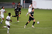 RICHMOND, VA - SEPTEMBER 30: Kenny Hot #76 of New York Red Bulls II races up the field with the ball during a game between North Carolina FC and New York Red Bulls II at City Stadium on September 30, 2020 in Richmond, Virginia.
