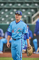 Ryan Ward (36) of the Ogden Raptors before the game against the Orem Owlz at Lindquist Field on June 20, 2019 in Ogden, Utah. The Owlz defeated the Raptors 11-8. (Stephen Smith/Four Seam Images)