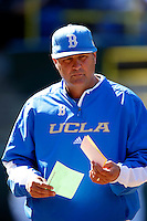 UCLA Bruins Head Coach John Savage #22 before a baseball game against the Oklahoma Sooners at Jackie Robinson Stadium on March 9, 2013 in Los Angeles, California. (Larry Goren/Four Seam Images)