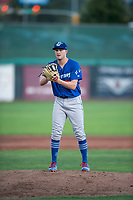 Ogden Raptors starting pitcher Brett de Geus (36) gets ready to deliver a pitch during a Pioneer League game against the Orem Owlz at Home of the OWLZ on August 24, 2018 in Orem, Utah. The Ogden Raptors defeated the Orem Owlz by a score of 13-5. (Zachary Lucy/Four Seam Images)