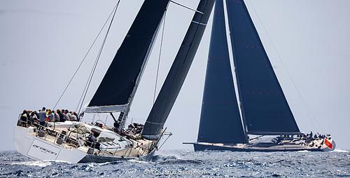 Nin O'Leary and the crew of Aragon on port tack in the Loro Piana Superyacht Regatta