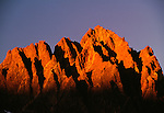 Sunset on Mount Winchell, 13,768 feet, from Dusy Basin, Kings Canyon National Park, California, USA